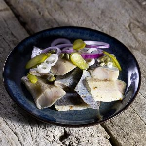 Smoked herring marinated with old-style mustard