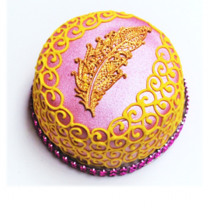 Pink with Gold Feather