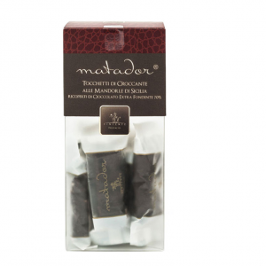 Crunchy nougat pieces with almonds covered with extra dark chocolate