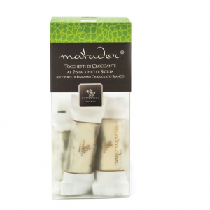 Crunchy nougat pieces with pistachio covered with white chocolate