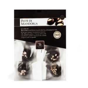 Classic almond Sicilian cookies covered with 70% extra dark chocolate